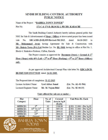 Bahria Town Tower Karachi - Approved Building Plan by Sindh Building Control Authority (SBCA) (1)