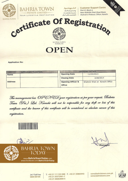 Bahria Town Karachi Registration Closing Date Extended Till 28th Feb, 2014
