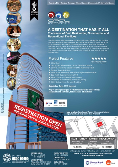 Opal 225 Bahria Town Karachi - A Destination That Has It All!