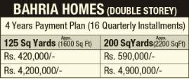 Bahria Town Karachi - Bahria Homes Payment Schedule