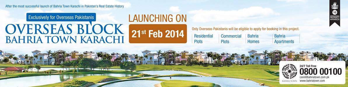 Bahria Town Karachi's Overseas Block Launching on 21st February 2014