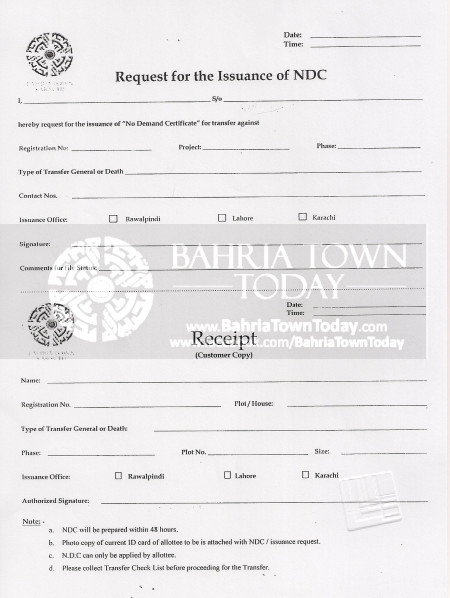 Bahria Town Karachi - Request for Issuance of No Demand Certificate (NDC)