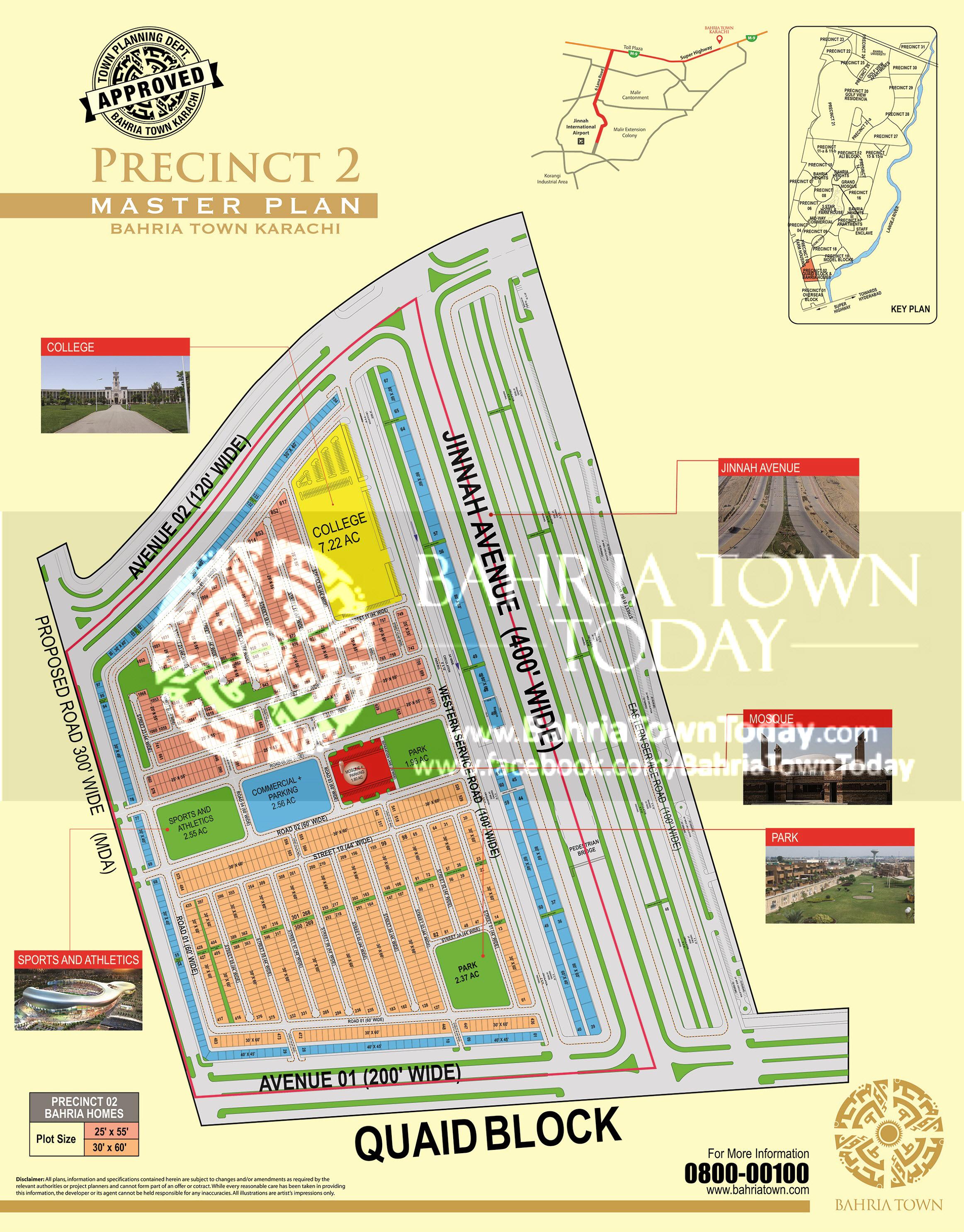 Bahria Town Karachi – Precinct 02 Bahria Homes (Quaid Block) High Resolution Map