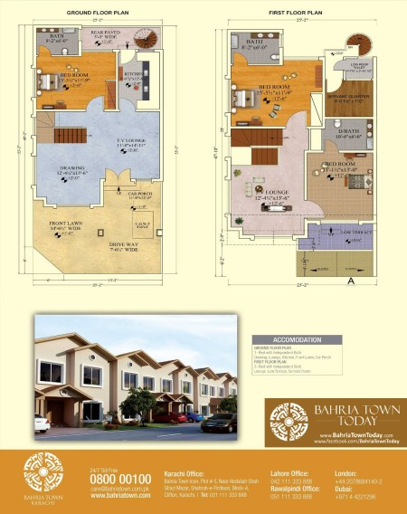 Floor Plan of 125 Square Yards Bahria Homes - Bahria Town Karachi