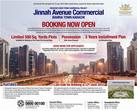 Booking Open for 500 Yards Plots in Jinnah Avenue Commercial - Bahria Town Karachi [English]