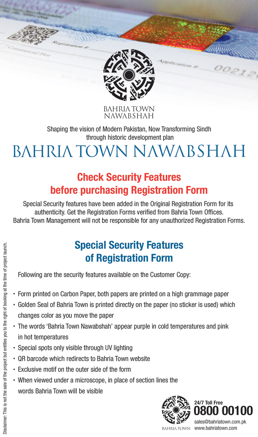 Bahria Town Nawabshah – Special Security Features of Registration Form