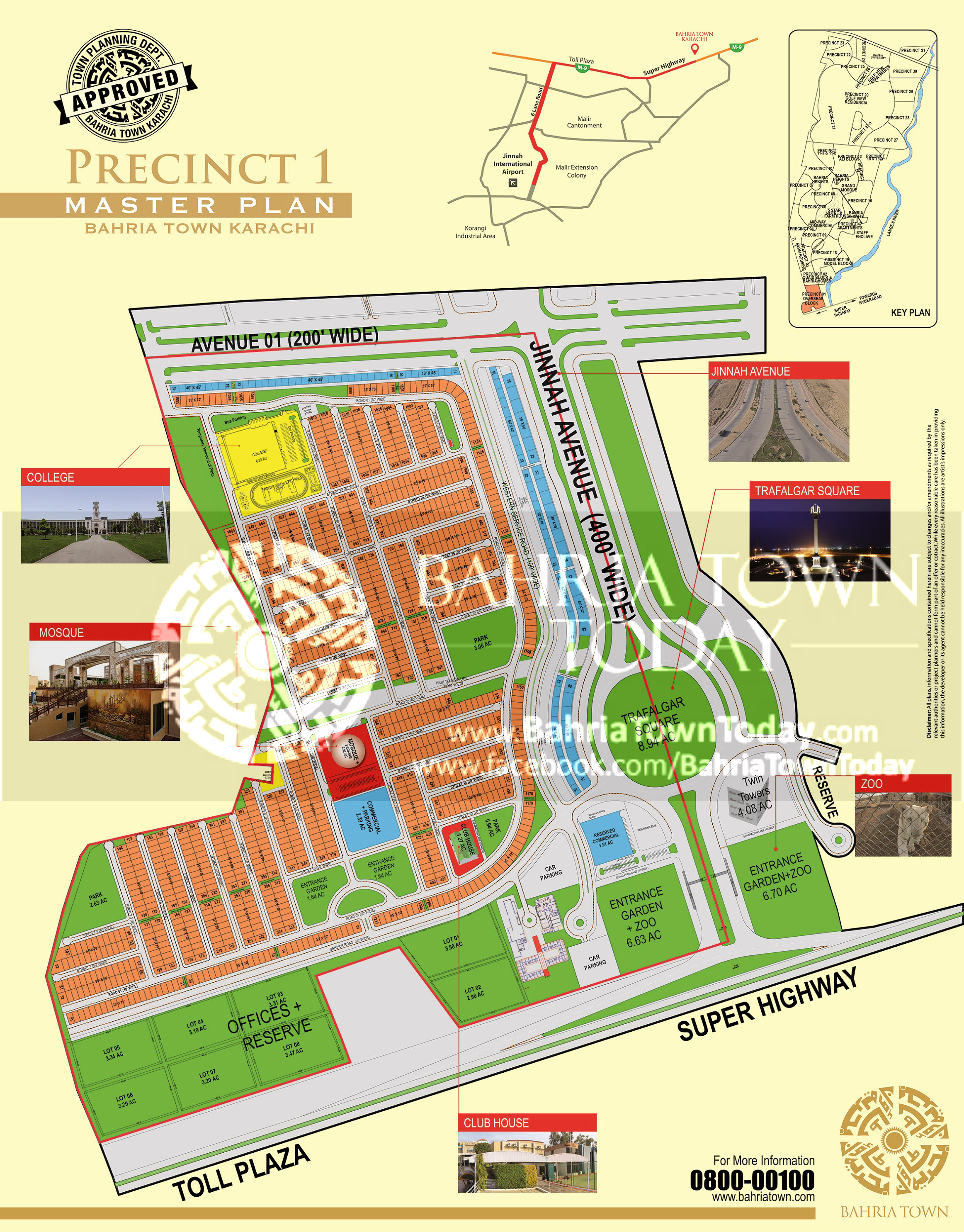 Bahria Town Karachi – Precinct 01 High Resolution Map