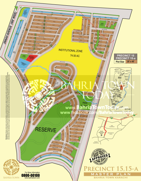 Bahria Town Karachi - Precinct 15 High Resolution Map