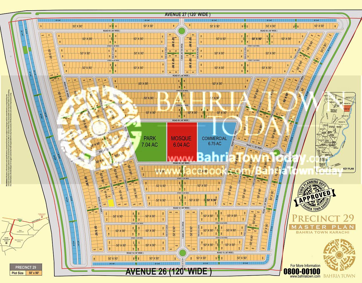 Bahria Town Karachi – Precinct 29 High Resolution Map