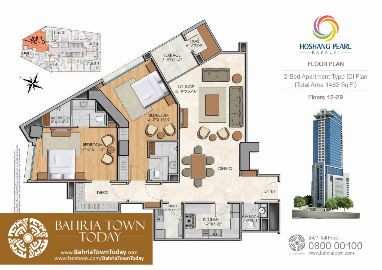 2 Bedroom Floor Plan – Hoshang Pearl Apartments Karachi (2)