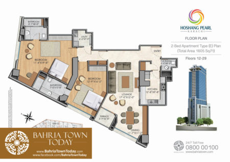 2 Bedroom Floor Plan - Hoshang Pearl Apartments Karachi (3)