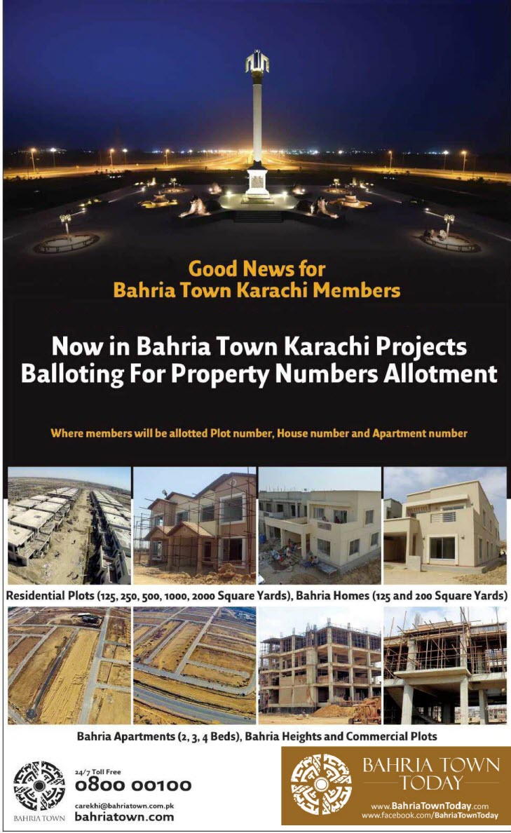 Bahria Town Karachi Balloting Result – 15th August 2016
