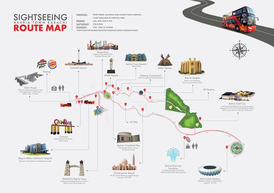 Bahria Town Karachi SightSeeing Tour Bus Route