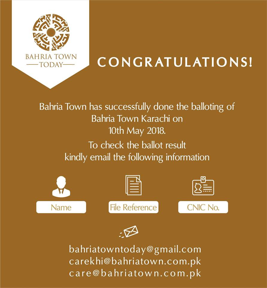 Bahria Town Karachi Balloting Results – 10th May 2018