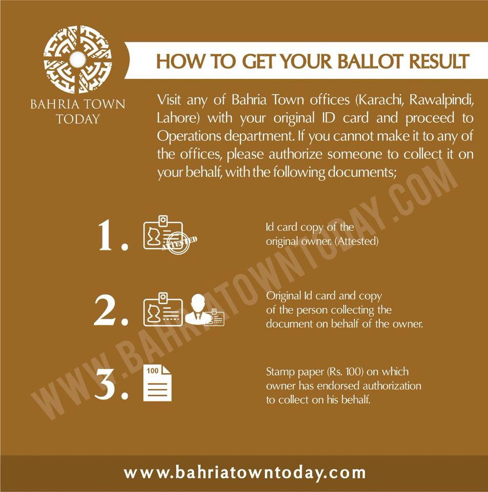 How to get your Bahria Town Karachi Ballot Results 2018