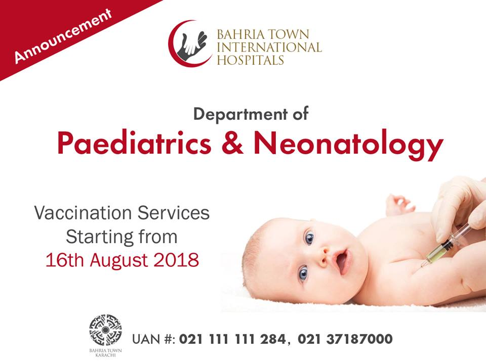 Bahria Town International Hospital Karachi Starting Vaccinations from 16th August, 2018