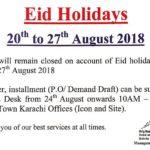 Bahria Town Karachi – Eid ul Adha Public Holidays 2018