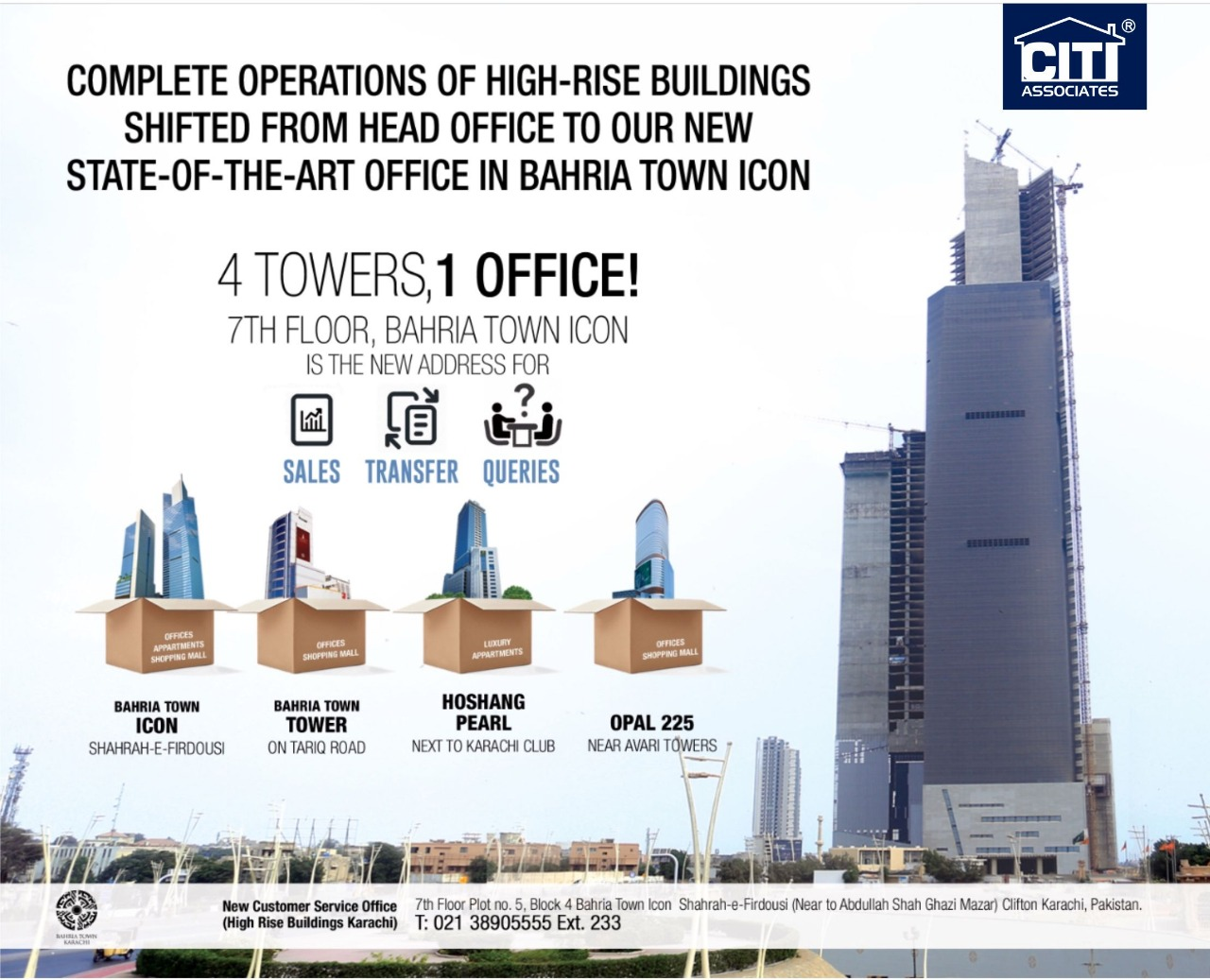 Bahria Town Icon Karachi Transfer Sales Office