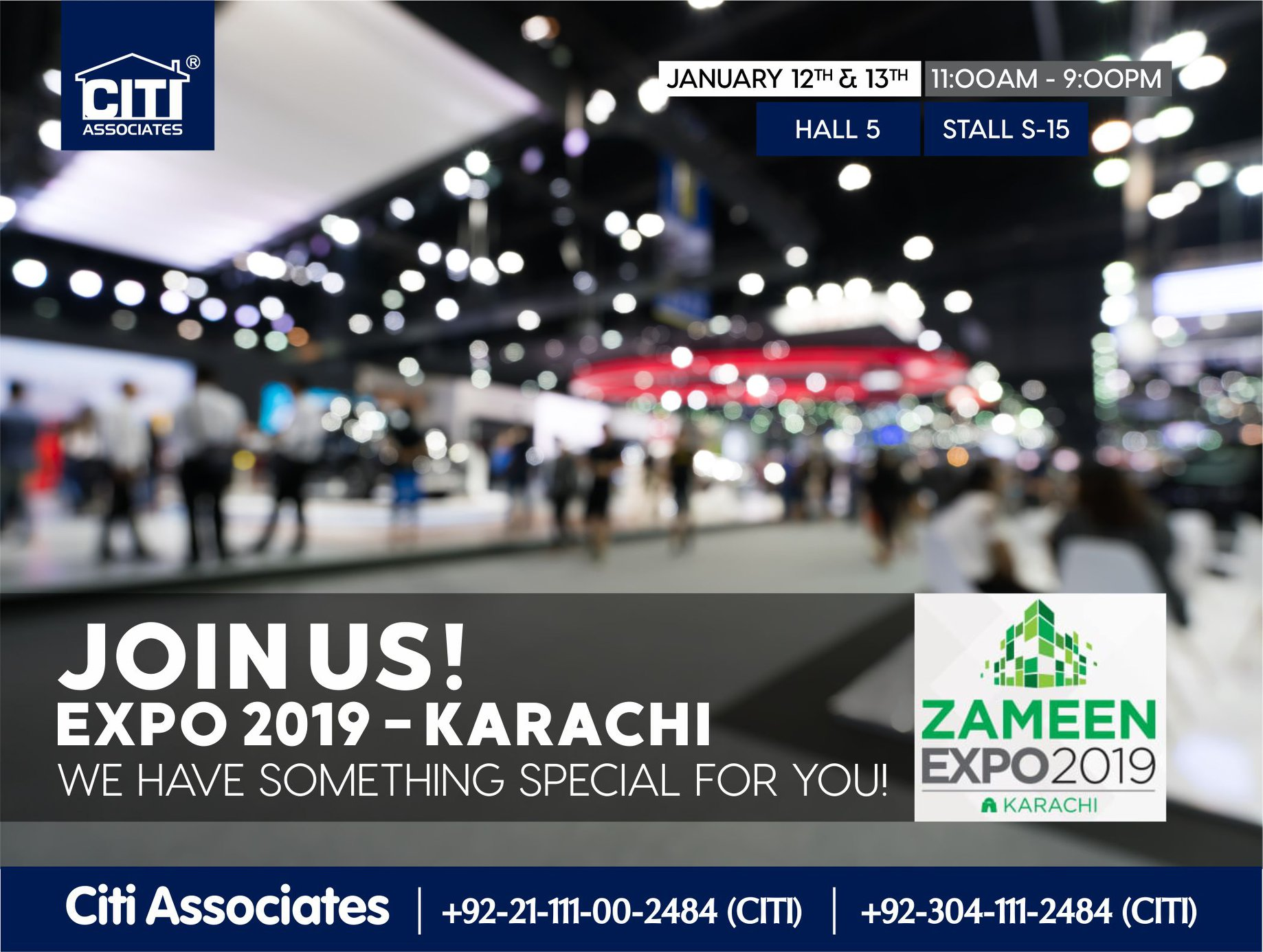 Visit CITI Associates Stall at Zameen.com Property Expo – 12th & 13th January 2019