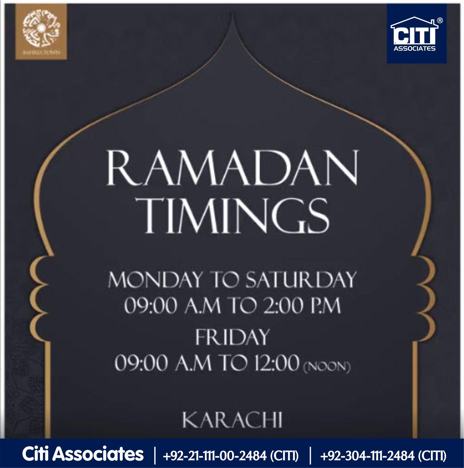 Customer Services Timings of Bahria Town Karachi   During Ramadan-ul-Mubarak.