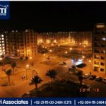 An Awesome Night View of Bahria Apartments Karachi