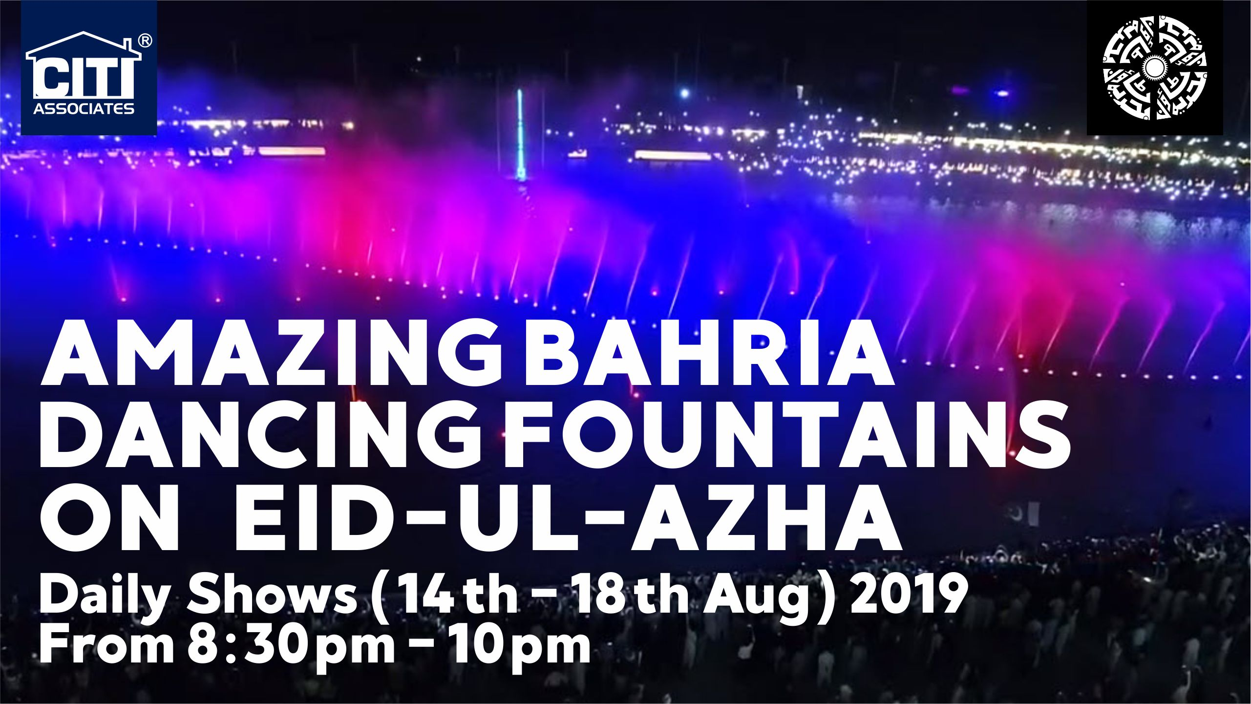 Amazing Bahria Dancing Fountains on Eid-ul-Azha 2019 | Bahria Town Karachi