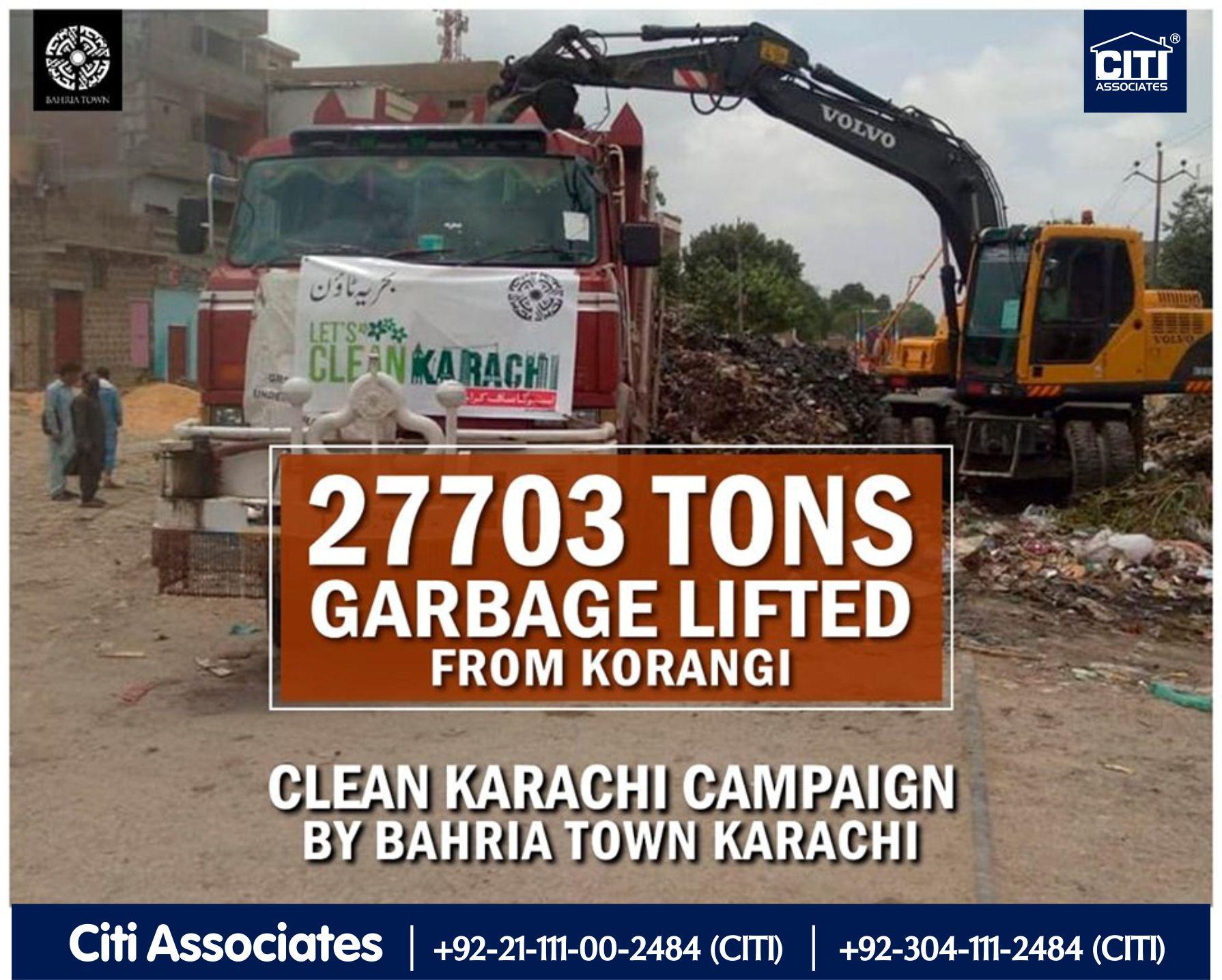 27703 Tons Garbage Lifted from Korangi Karachi by Bahria Town Karachi