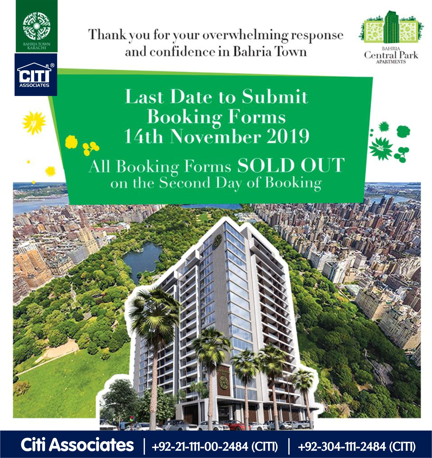 All Booking Forms SOLD OUT | Bahria Central Park Apartments