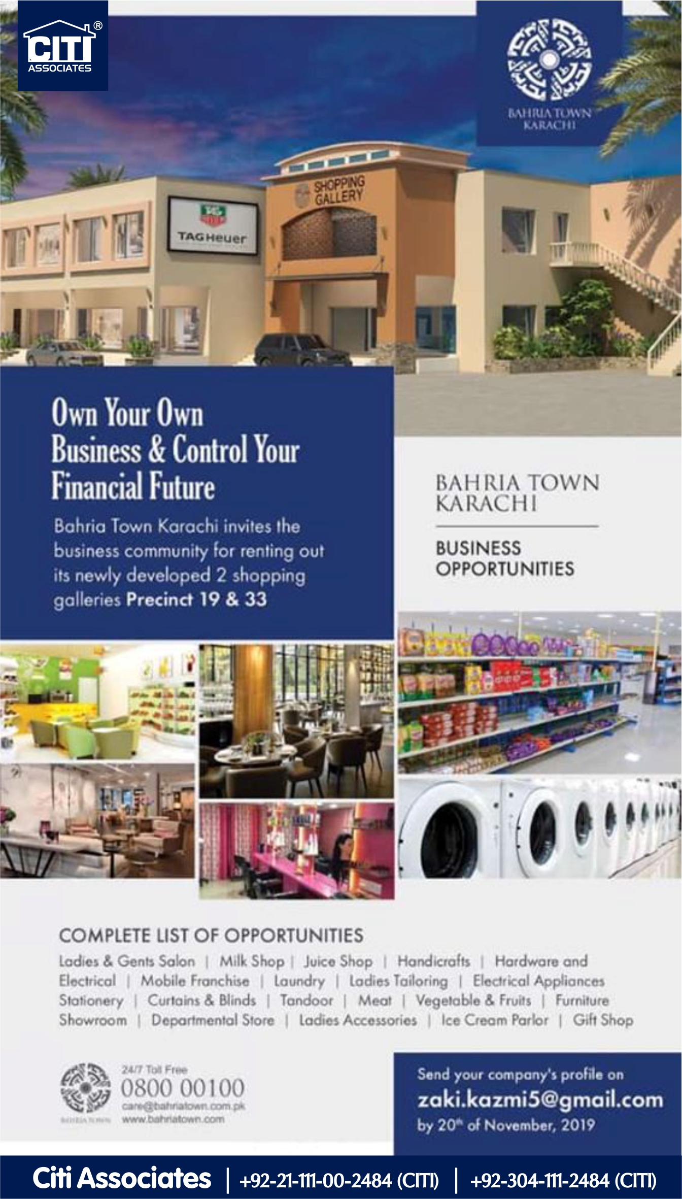 Own your Own Business | Business Opportunities | Bahria Town Karachi