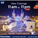 Revised Timings of 'Bahria Adventure Land Karachi'