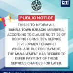 35% Service Development Charges Defer by Bahria Town Karachi