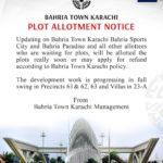 Bahria Town Karachi Plot Allotment Notice