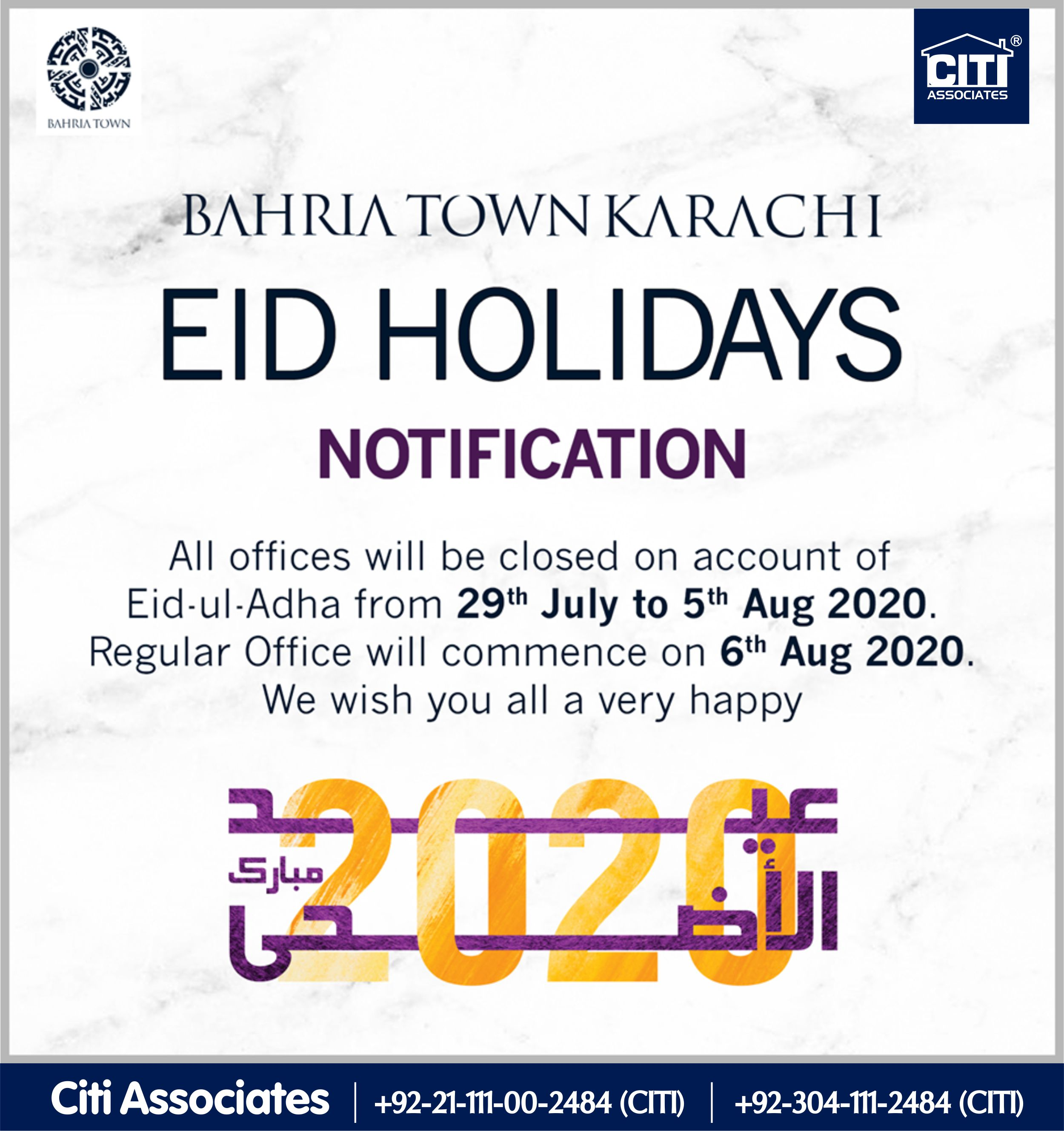 Notification | Eid Holidays  2020 | Bahria Town Karachi