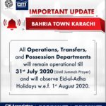 All Operations, Transfer and Possession Departments will Remain Operational | Bahria Town Karachi