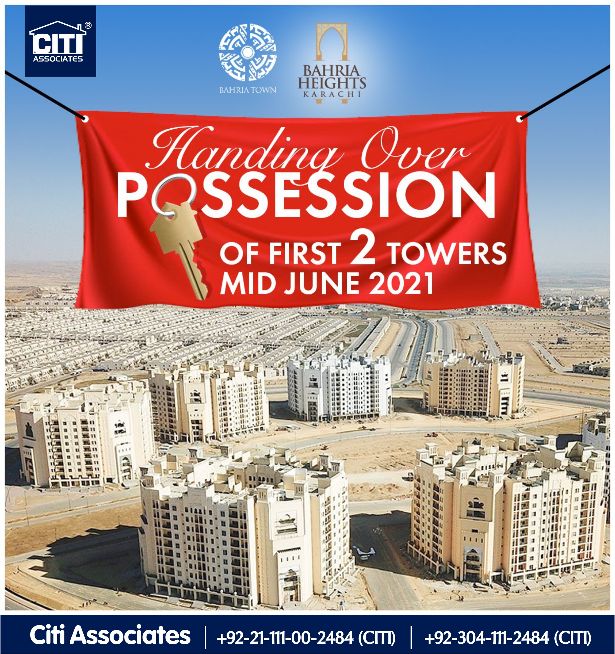 Handing Over Possession of First 2 Towers – Mid June 2021 | Bahria Town Karachi
